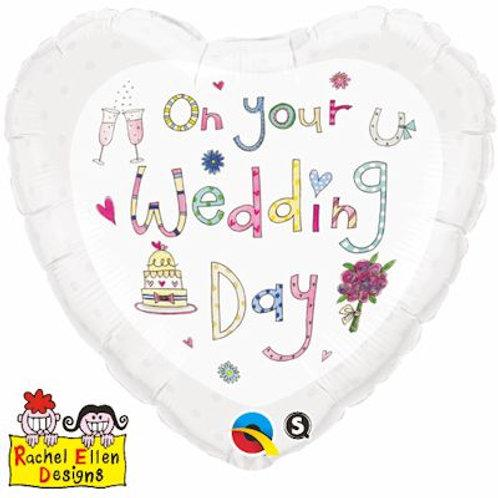 Qualatex Balloons Rachel Ellen On Your Wedding Day 45cm