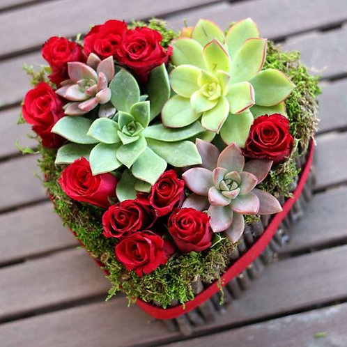 Arranged with Love : Succulent Rose Heart Bouquet-Fresh Flower
