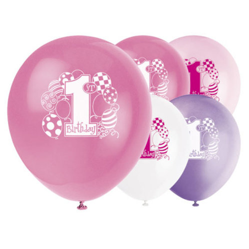 First Birthday Girl Latex Balloons – 12 Inches