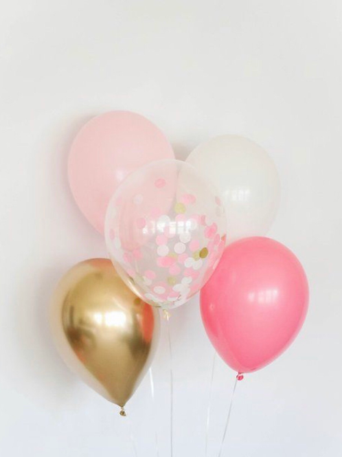 Pink Gold confetti balloons bouquet of 5