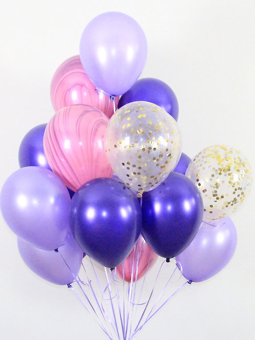 Bouquet(20Balloons)Blueberry Confetti Balloon Helium filled