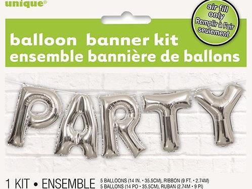 """PARTY"" SILVER 35.5cm (14"") FOIL LETTER BALLOON KIT"
