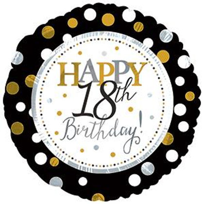 Happy 18-70th Birthday Black and Gold Dots 45cm