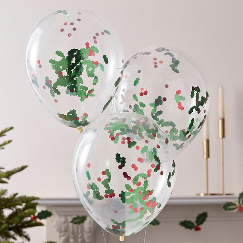 Holly Christmas Confetti Balloons Bouquet of 3