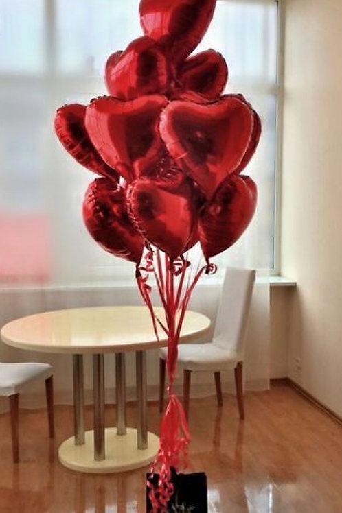 Arrange with Love: bouquet of 10 foil Heart