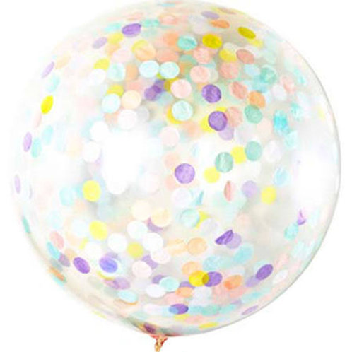 Giant 90cm 3ft Confetti Balloon - pastel confetti mix (helium filled)
