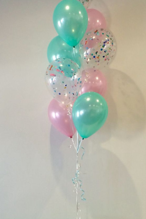 Bouquet of 9 Balloon Pink&Peal Green Confetti(Helium Filled)