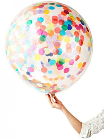 Rainbow Mix 90cm Confetti Balloon (helium filled)