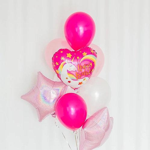 Pink unicorn balloon bouquet of 8