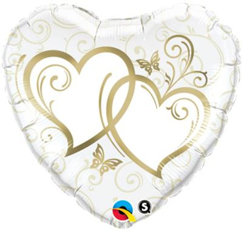 Qualatex Balloons Entwined Hearts Gold 45cm