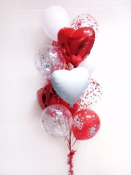 Valentine's Red Balloon Bouquet of 13-Helium Filled