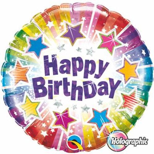 Qualatex Balloons Birthday Radiant Stars Holographic 45cm