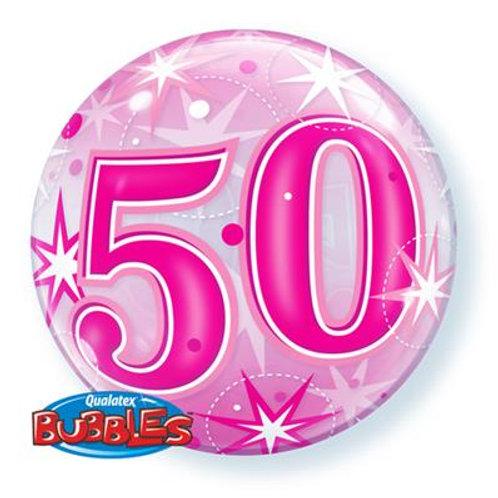50 Blue/Pink Starburst Sparkle Bubble 55cm