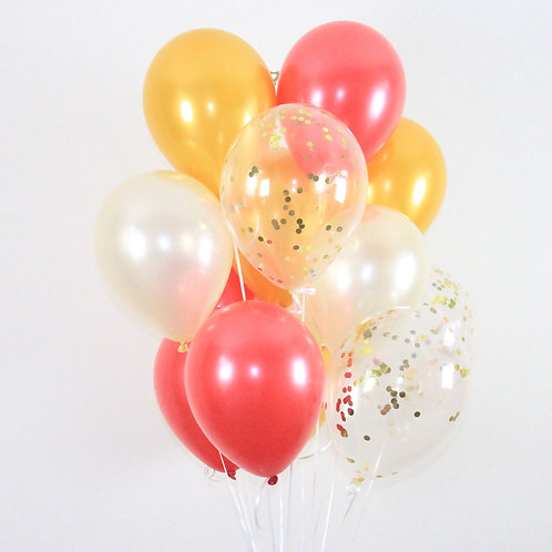 Bouquet(20Balloons)Red Gold Confetti Balloon Helium filled
