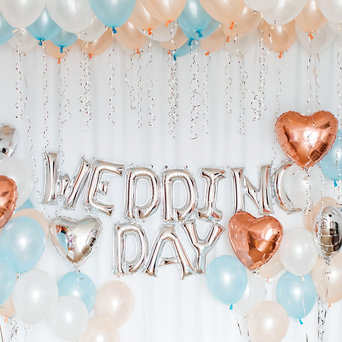 Rose Gold&Baby Blue Wedding room deco package