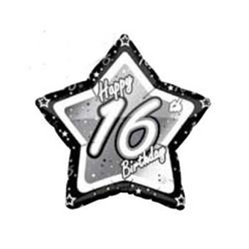16-90th Birthday Black and Silver Star 45cm