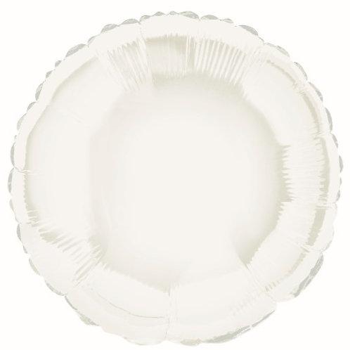 """WHITE ROUND 45cm (18"""") FOIL BALLOON"""