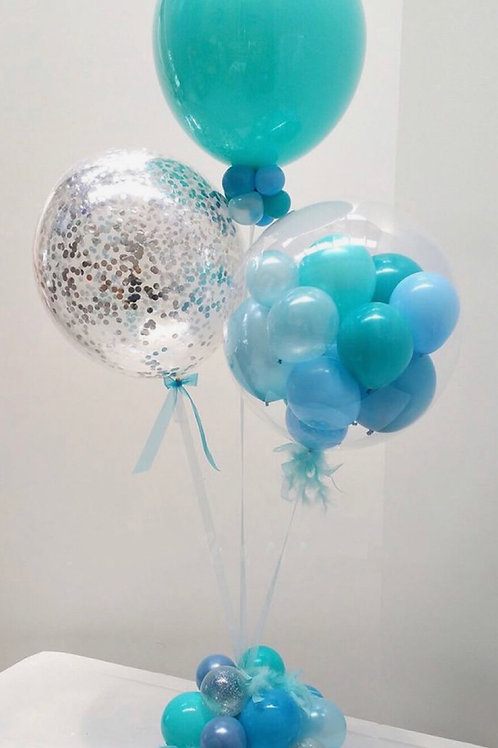 Bouquet of 3 Teal&sliver Table Centerpiece