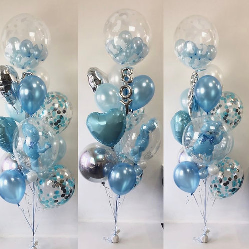 Baby Blue Teddy Bear Bubble Balloon Set (helium filled)