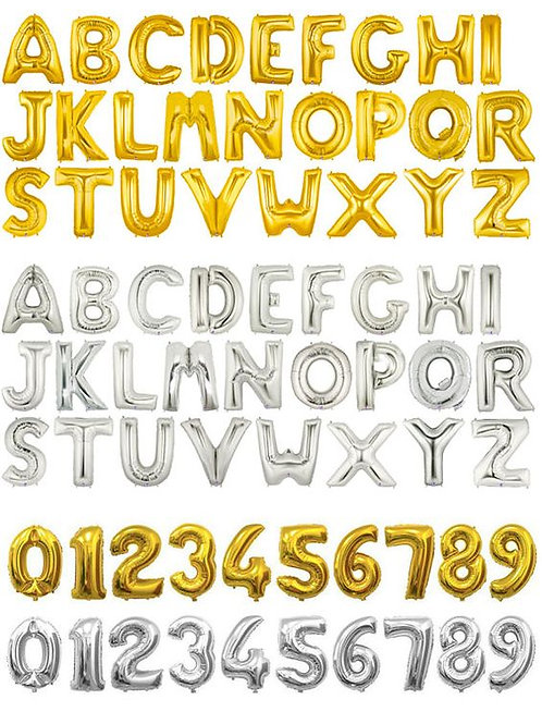 Sliver/Gold Foil Number/Letter($3.90 per balloon) 35.5cm air inflated