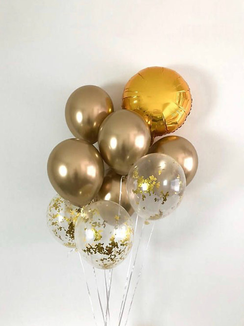 Chrome gold bouquet of 9
