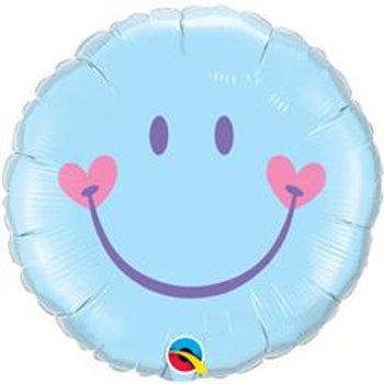 Qualatex Balloons Sweet Smile Face Light Blue 45cm