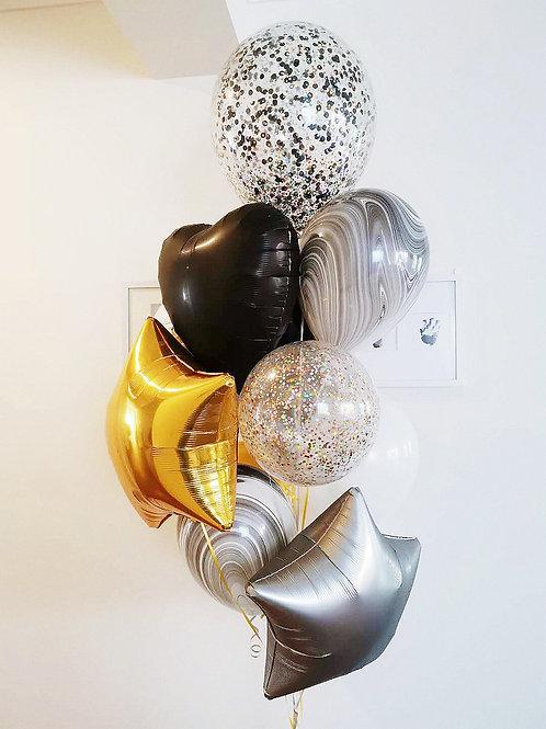 Luxury Black & Gold Bouquet  Of 12