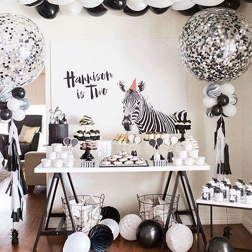 Black & White Zebra Party decorations Package