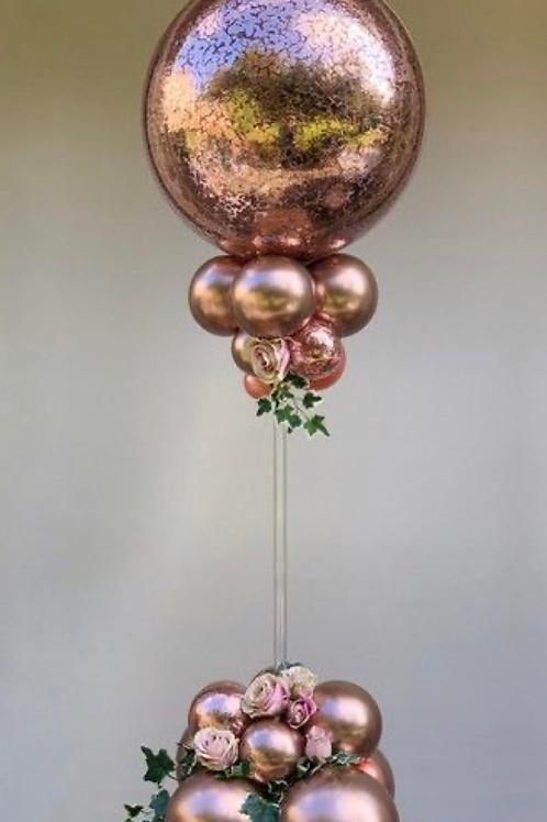 Rose gold confetti balloon design column