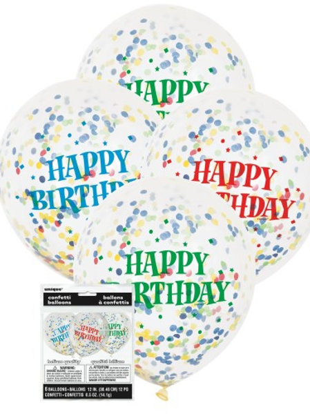 """HAPPY BIRTHDAY 6 X 30cm (12"""") CLEAR BALLOONS WITH BRIGHT CONFETTI"""