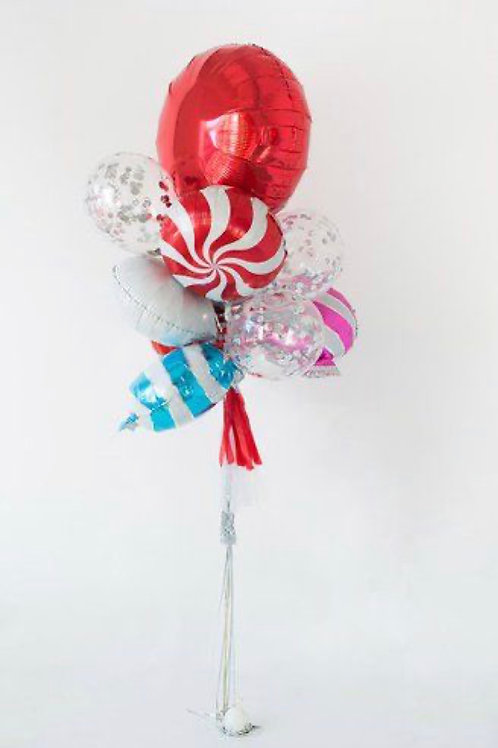Christmas Candy Swirl Balloons Bouquet of 8