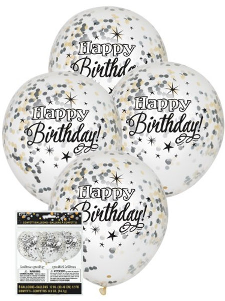 GLITTERING BIRTHDAY CLEAR BALLOONS WITH SILVER, GOLD & BLACK CONFETTI