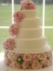 Pink hydrangea wedding cake
