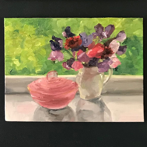Sweetpeas on the Window Sill - Oil on Canvas Board- Oil on Canvas Board