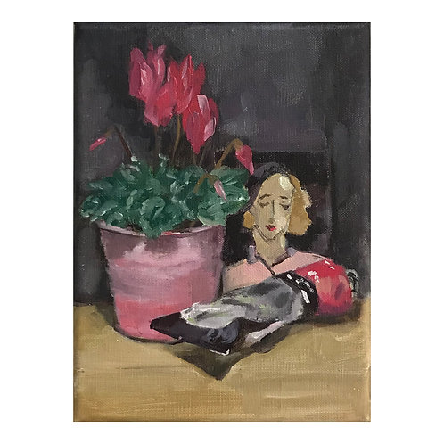 Cyclamen, Brilliant Rose and Helene Schjerfbeck Still Life - Oil on Canvas