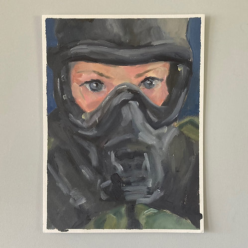 The Mask - Self Portrait - Oil on Arches Oil Paper