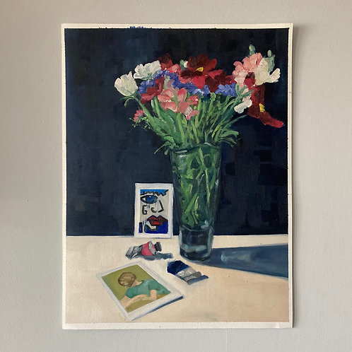 Posy, Postcards and Paint Tubes - Oil on Arches Oil Paper