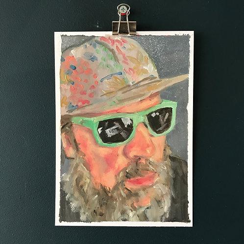 Pale Green Ghost  - Portrait of John Grant - Oil on Paper