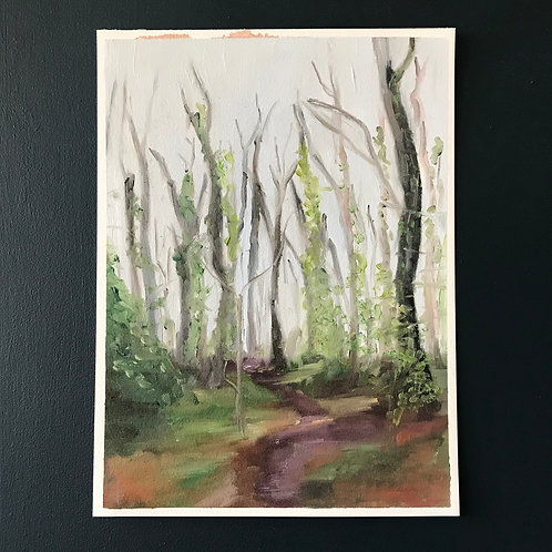 Pathway - Isolation Walk in the Woods - Oil on Arches Oil Paper