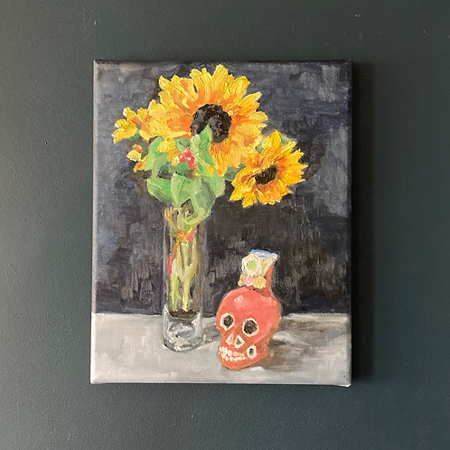Sunflowers and Day of the Dead Candle Holder - Oil On Canvas