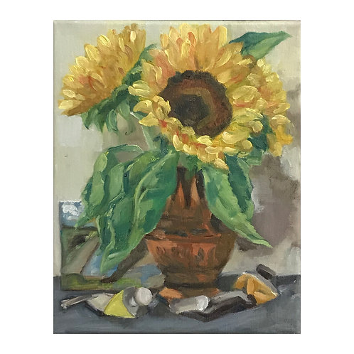 Sunflowers, Bright Yellow Lake and Yellow Ochre - Framed Oil on Canvas