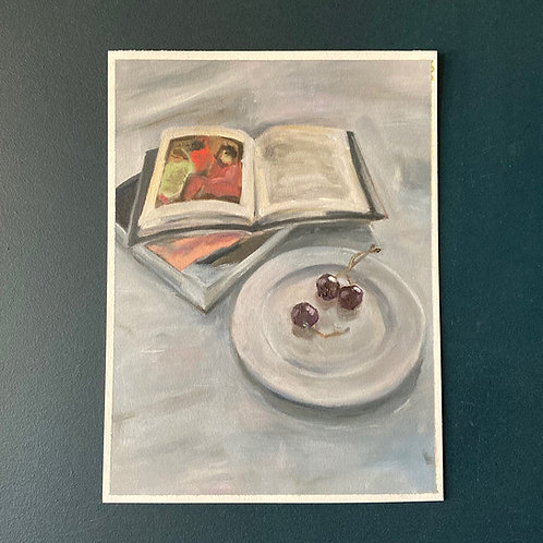 Cherries and Art Books (Amrita Sher-gil and Lucian Freud)