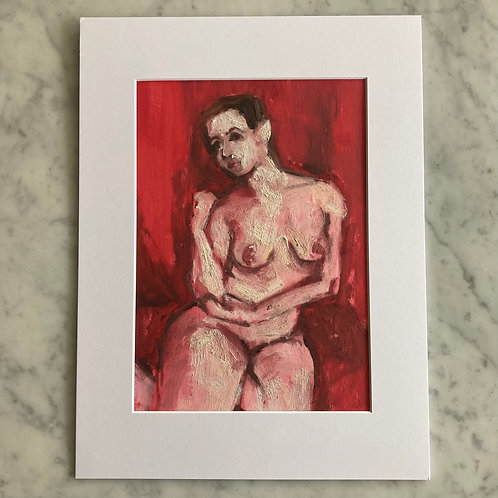 Red Contemplation - Oil on Arches Oil Paper Pad
