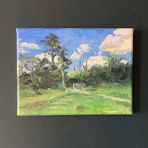 Glimpse of Glastonbury - Oil on Canvas