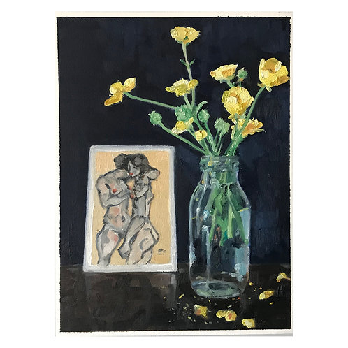 Buttercup Bouquet and Postcard - Oil on Arches Oil Paper