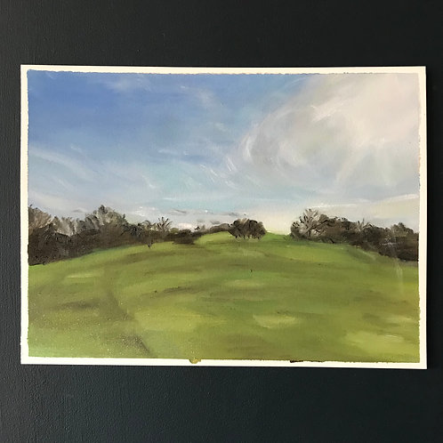 No Golfers - Isolation Walk on the Golf Course - Oil on Arches Oil Paper