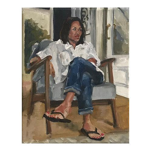 At Sara's - Framed Oil on Canvas