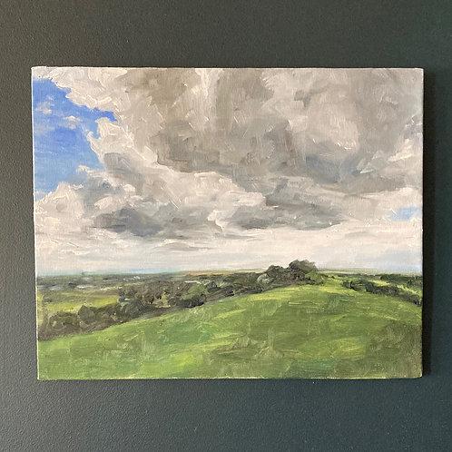 Rain Over Bristol - Oil on Canvas Board