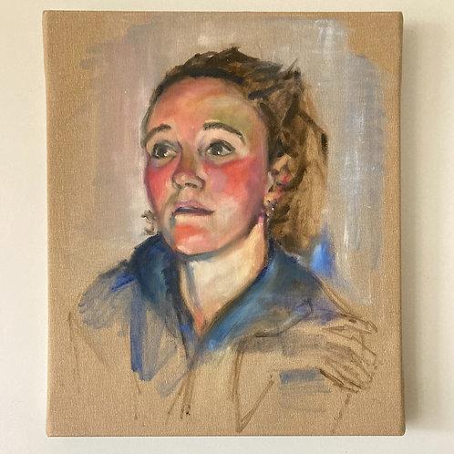 Portrait of Mirjam - Oil on Deep Canvas