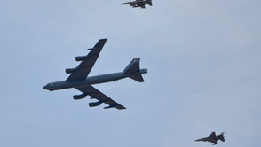 Stunning photo of a B-52 raining bombs during training exercise in Jordan